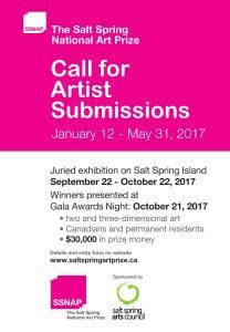 Call for Artist Submissions $30,000 in Awards - The Salt Spring National Art Prize @ Online Submissions - www.saltspringartprize.ca | British Columbia | Canada