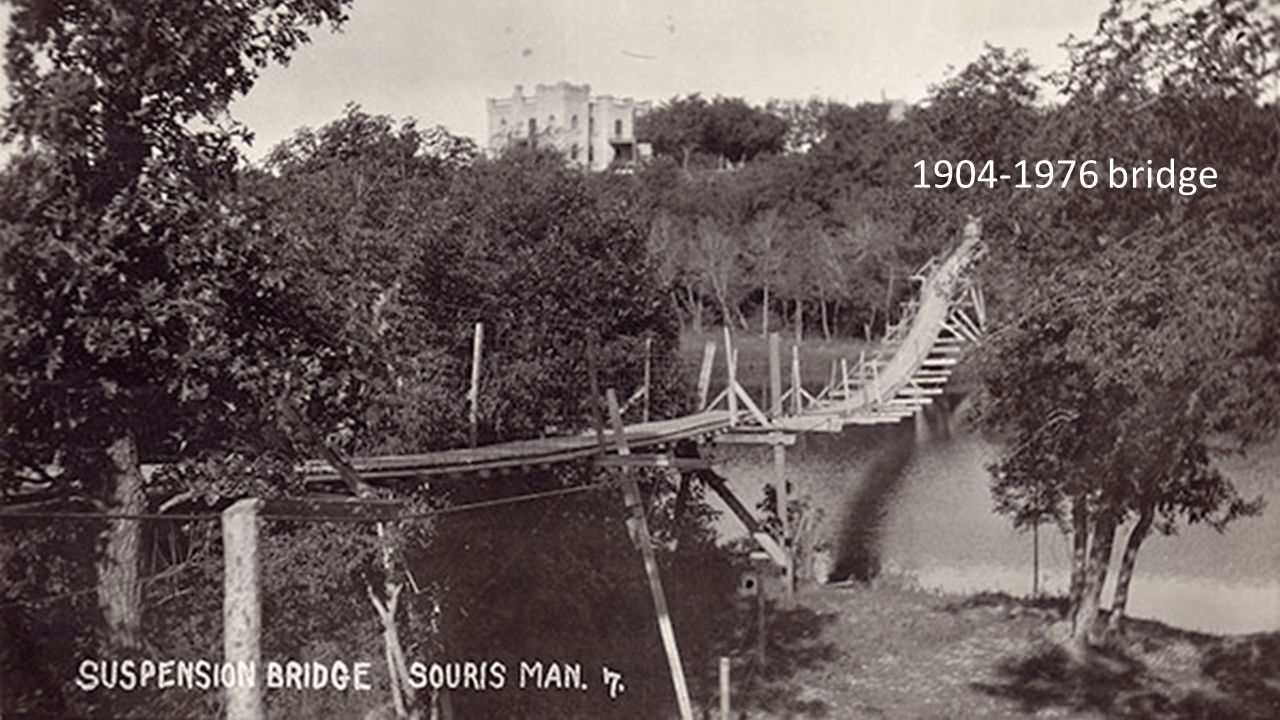 Swinging bridge in souris manitoba construction