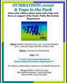 Zumbathon/ Yoga fundraiser @ The Bowl at Victoria Park | Souris | Manitoba | Canada