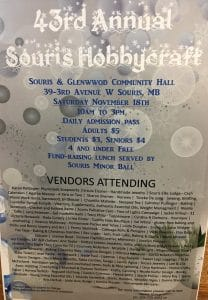 43rd Annual Hobby Craft @ Commmunity Hall | Souris | Manitoba | Canada