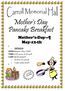 Mothers Day Pancake Breakfast @ Carroll Memorial Hall