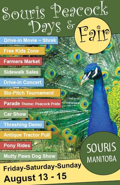 Peacock Days August 13-15 @ Souris, Manitoba